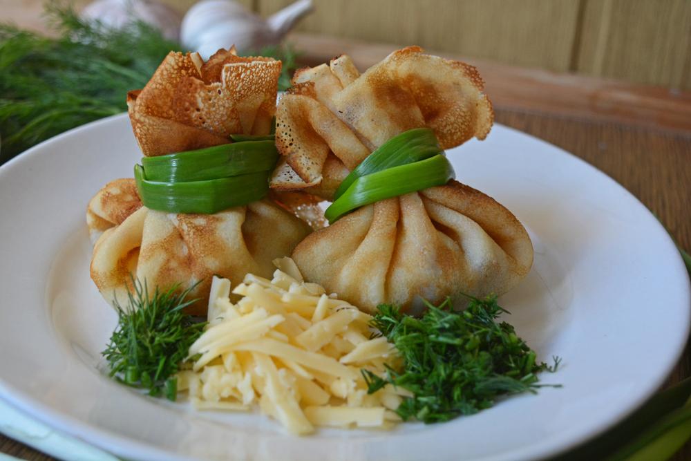 Блины с припеком из зелени и сыра рецепт