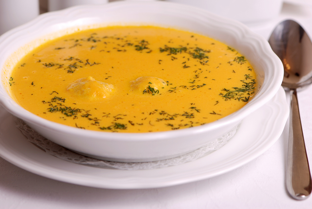 Крем-суп с фрикадельками и сыром фото