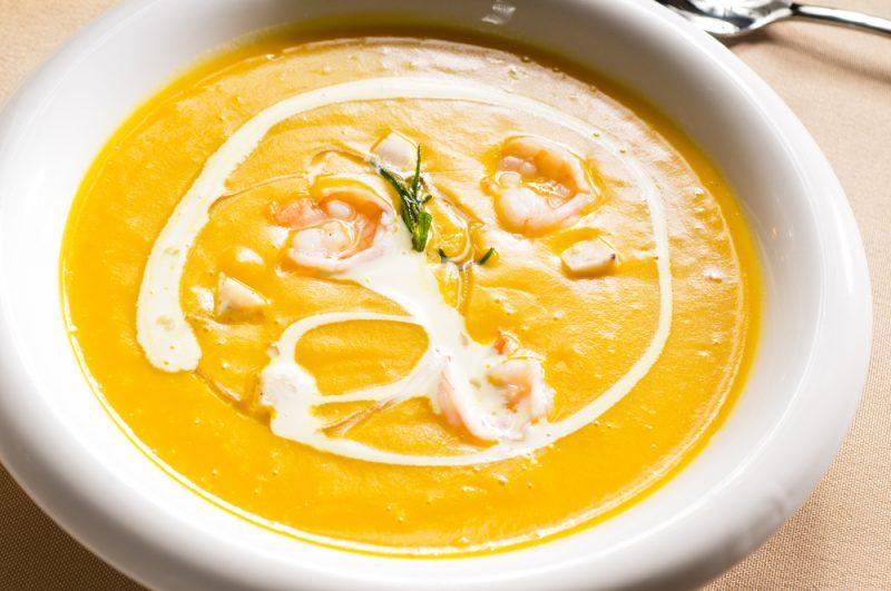 Тыквенный крем-суп с креветками рецепт