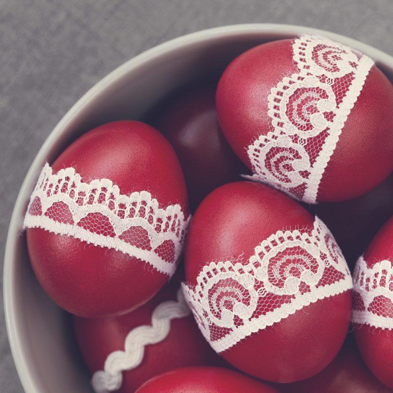 Яйца пасхальные с узором кружевным