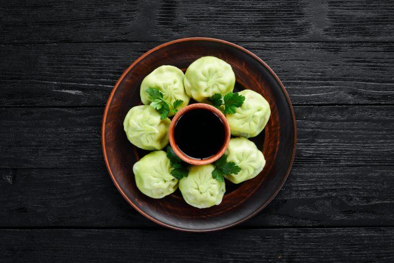 Хинкали с овощами и грибами