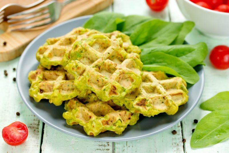 рецепт домашних вафель со шпинатом