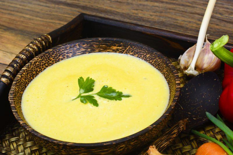 Сырный суп-пюре с мясом