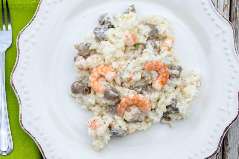 Рецепт ризотто с морепродуктами в сливочном соусе с грибами