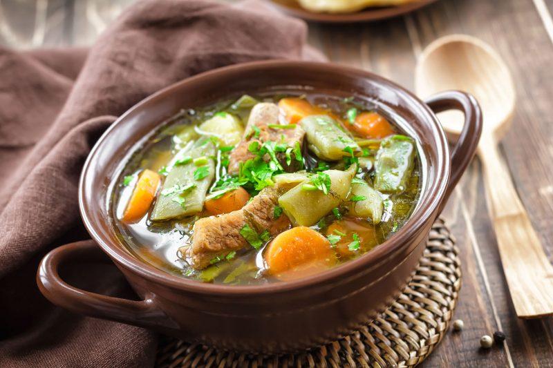 Грибной фасолевый суп с галушками
