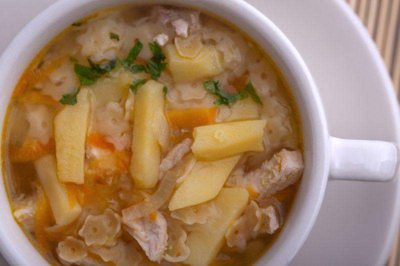 Способ подготовки куриного супа с макаронами и картошкой