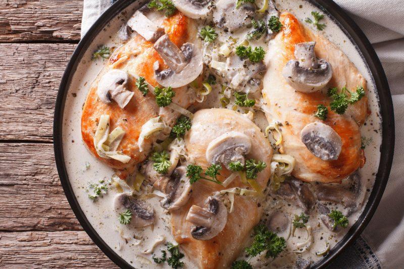 Куриное филе в сливочно-грибном соусе