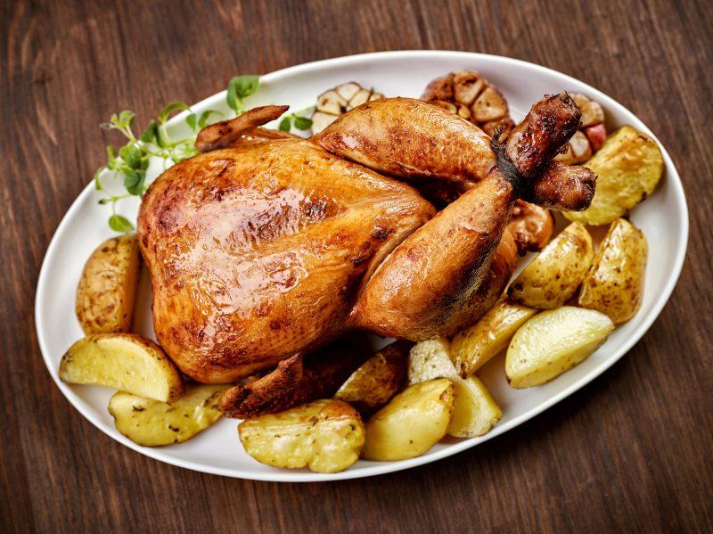 Запеченный картофель с курицей в медовом соусе