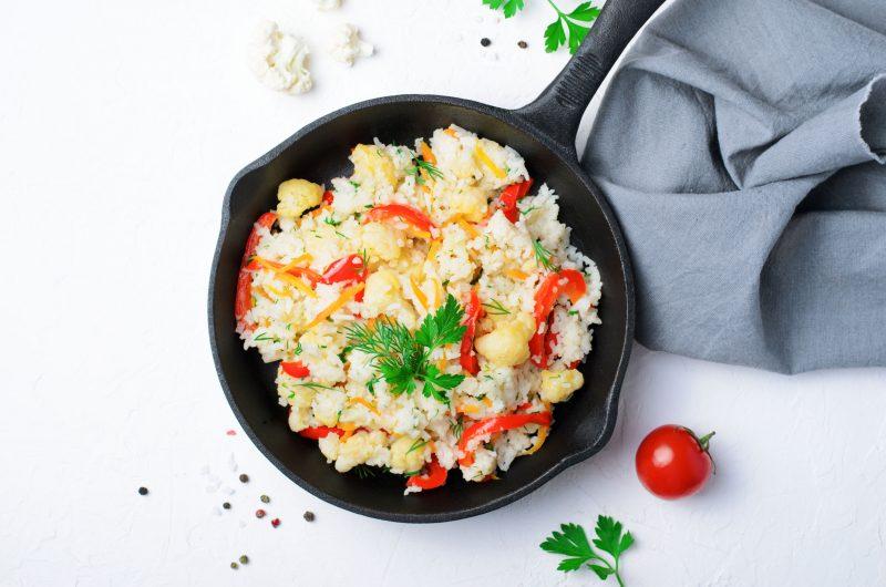 Жареный рис с цветной капустой