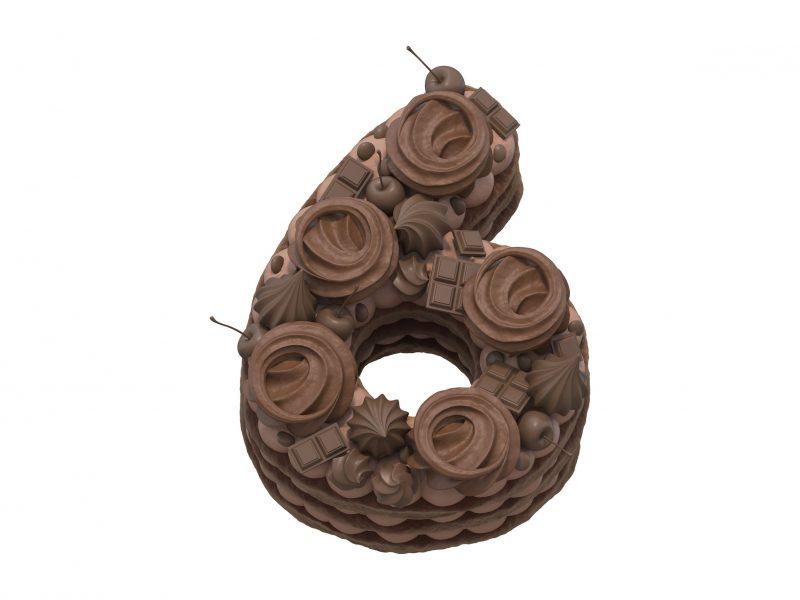 Торт-цифра: шоколадный медовик