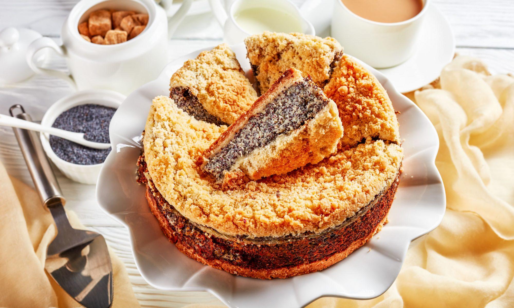 Быстрый пирог с творогом и маком