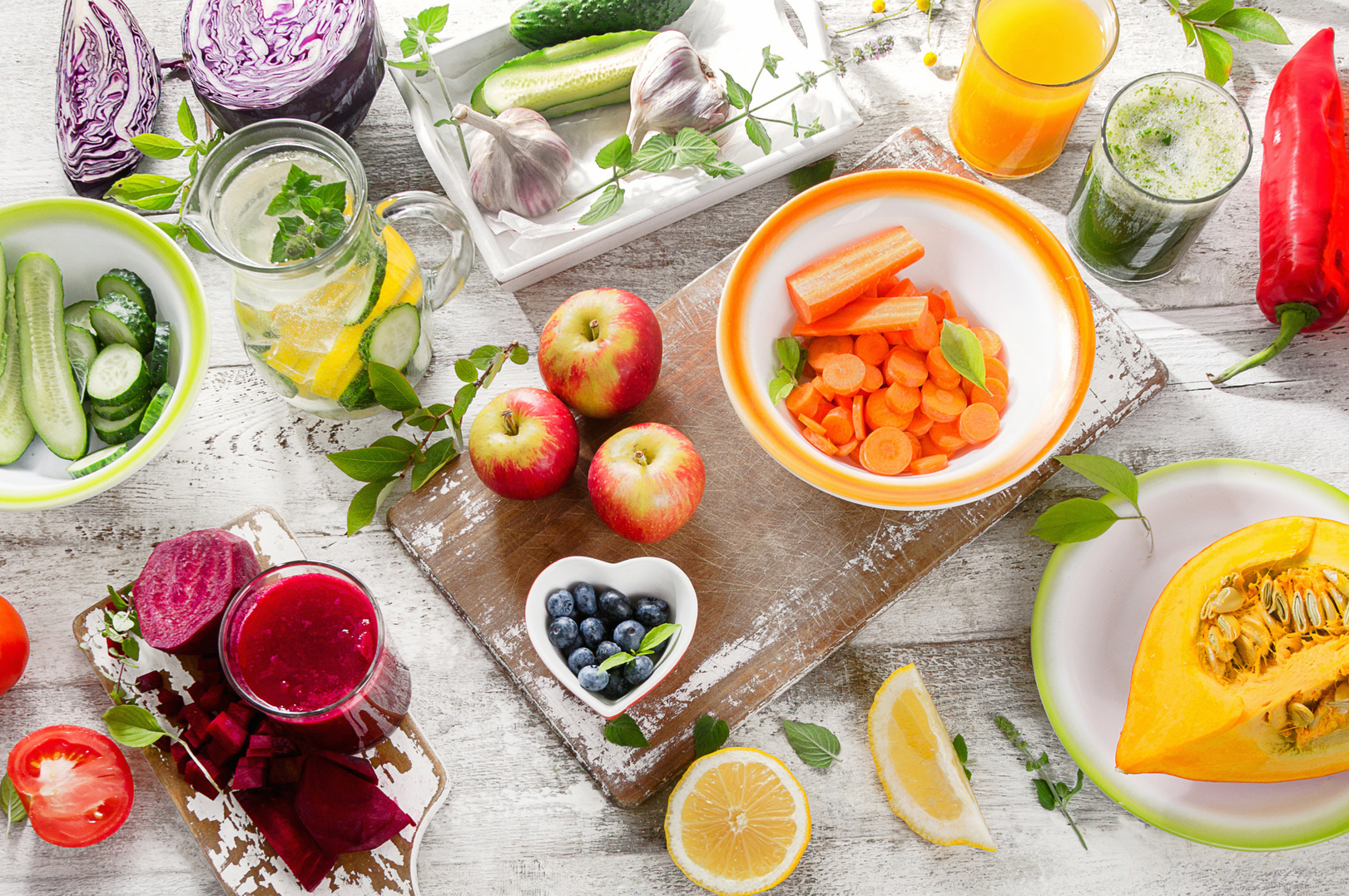 Different fruits, juices and vegetables. Healthy diet detox food. Top view