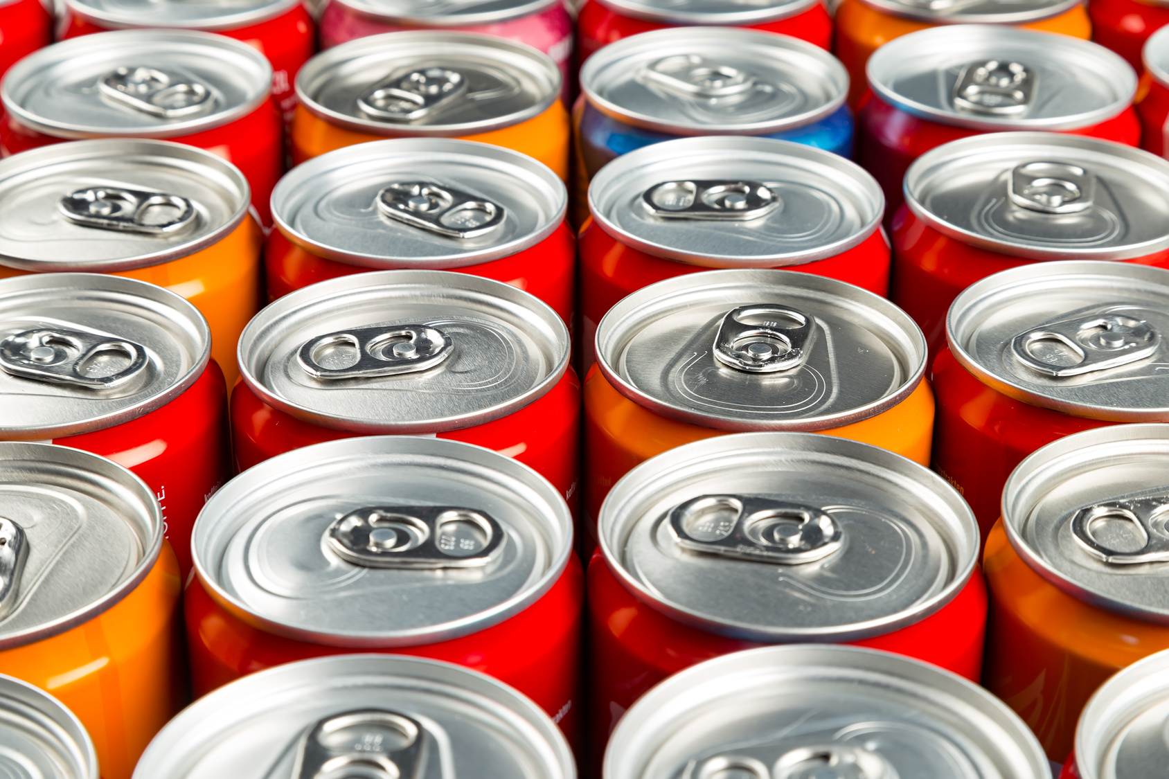 close-up of many aluminum soda cans
