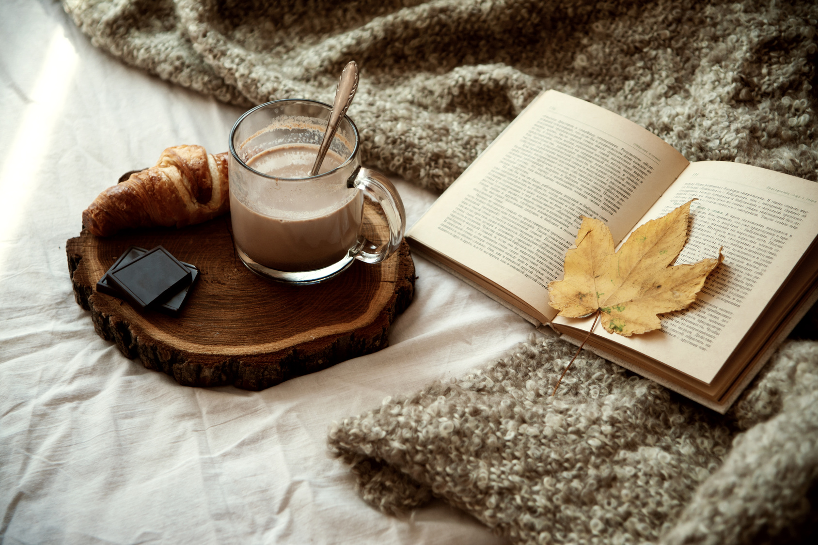 mug of cocoa stands on a wooden tray, next is a croissant with chocolate, a book with autumn leaves on the bed