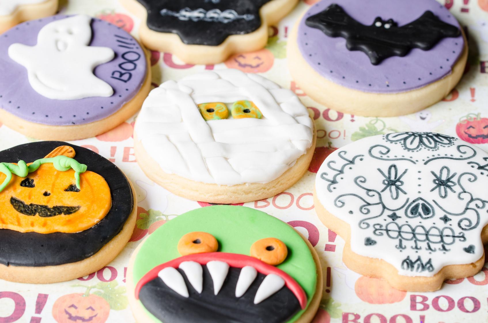 Halloween homemade gingerbread cookies background